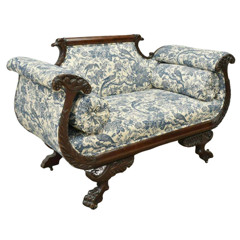 Antique Settee / Sofa American Classical, Mahogany, 1800s, Blue/White, Charming! - Old Europe Antique Home Furnishings
