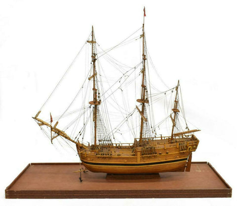 Ship Model, British, Three Mast, Handsome Man Cave Piece!! - Old Europe Antique Home Furnishings