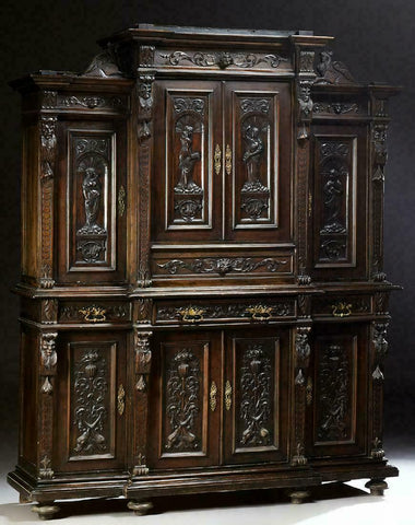 Antique Sideboard / Server, Buffet Deux Corps, Italian Renaissance Style, Walnut - Old Europe Antique Home Furnishings