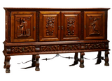Antique Sideboard, Carved Walnut Renaissance Style, Early 1900s, Gorgeous! - Old Europe Antique Home Furnishings