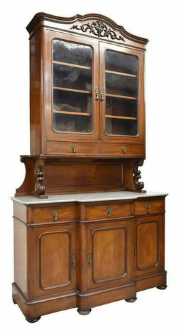 Antique Sideboard, French Louis Philippe, Mahogany, Marble Top, 1800s, Gorgeous! - Old Europe Antique Home Furnishings
