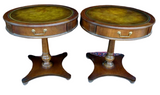 Antique Tables, Lamp, Mahogany Set of 2, Leather Top Circular, Handsome 27 Ins! - Old Europe Antique Home Furnishings