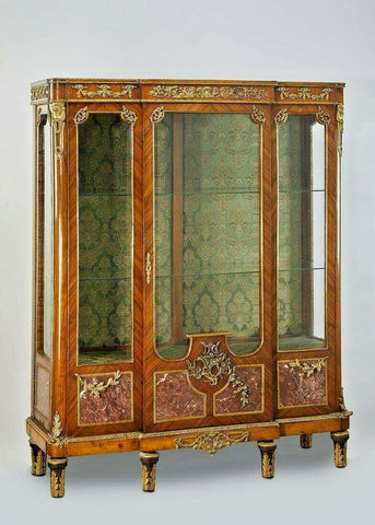 Gorgeous Antique Vitrine, Louis XVI Style Bibliotheque Bookcase w Marble Panels, Vintage - Old Europe Antique Home Furnishings