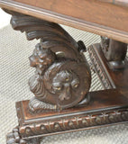 Table, Dining, Walnut Italian, Renaissance Revival Figured Carved, Early 1900s! - Old Europe Antique Home Furnishings