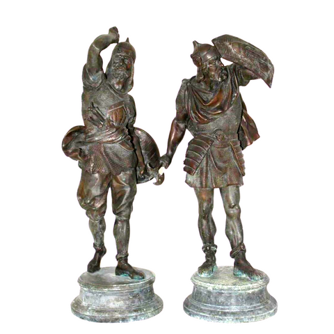 Antique Sculpture Figures, Spelter Warrior, Late 1800s, Handsome Pair! - Old Europe Antique Home Furnishings