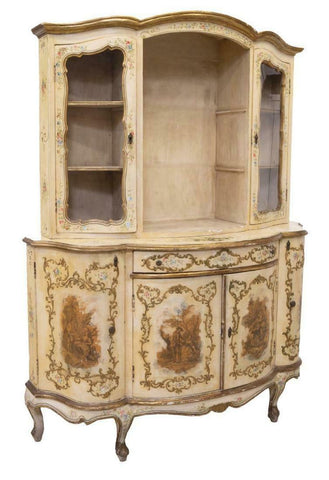 Cabinet, Display, Venetian Painted Gilt Accented, Vintage, Gorgeous - Old Europe Antique Home Furnishings