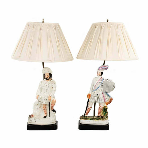 Lamps, Porcelain, Figural, Pair Victorian Dresden Style, Vintage, Beautiful Set! - Old Europe Antique Home Furnishings