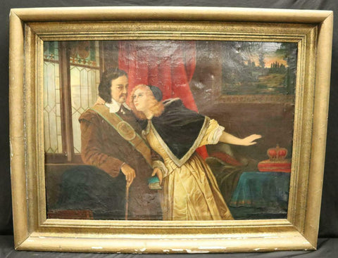 Antique Painting, Oil on Canvas, Couple At Window, Colorful and Handsome! - Old Europe Antique Home Furnishings