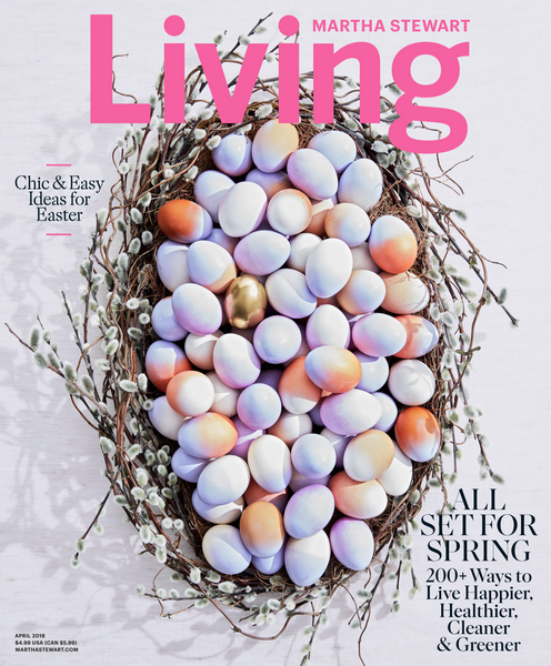 cover image of martha stewart living, april 2018, on which Flaneur luxury bedding was featured, martha stewart color