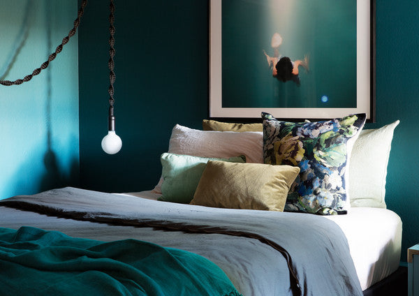 Bianca Sotelo Tone on Tone, green and blue, colorful bedding