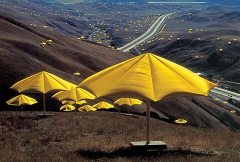 thousands of yellow umbrellas all over the valley and mountains, by artists Christo & Jeanne-Claude. inspired Flaneur colors, change the sheets.