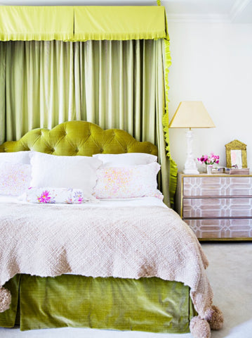 Amanda Nisbet bedroom with bold pops of color