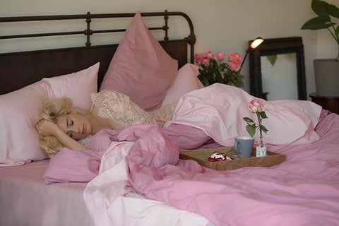 lily levy with flaneur bedding, bespoke pink sheets