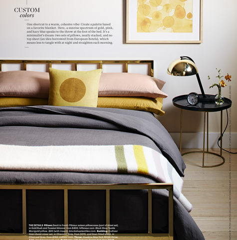 Flaneur bedding Martha Stewart Living, toasted almond, neutral gray and golden bright yellow, color bedding