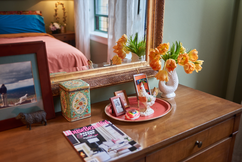 Unique collection on dresser at Sophie Donelson's NYC apartment, HouseBeautiful, House Beautiful