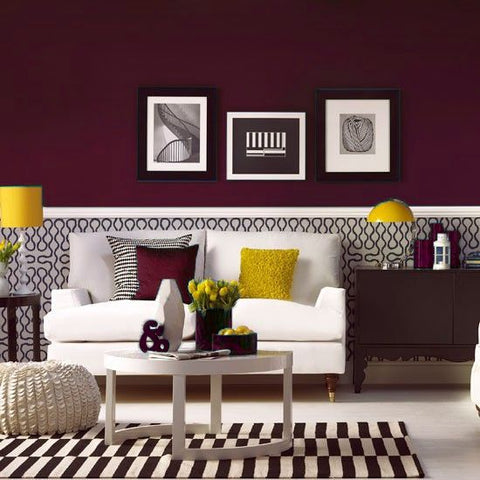 Burgundy and Yellow Room