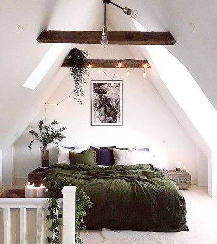 White Room with Green Bedding, wall colors, colors to compliment green, bedding, green sheets, green tones, shades of green, change the sheets, flaneur bedding, flaneur sheets