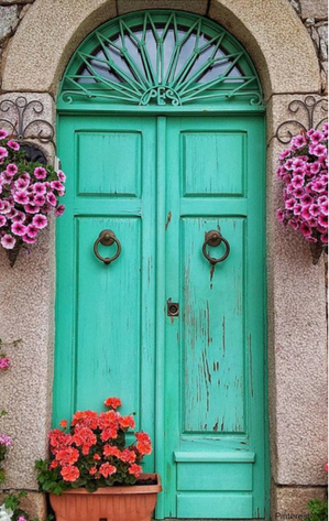 Turquoise door in Sardinia, Colorful Beaches in Sardinia, Mediterranean island, Flaneur bedding, Flaneur sheets, custom color