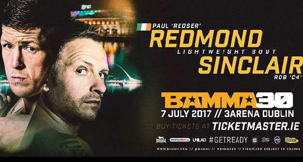 Paul Redmond vs. former champ Rob Sinclair announced for BAMMA 30