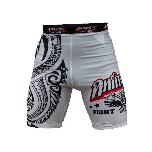 Animosity 'Tribal2' Compression Shorts White