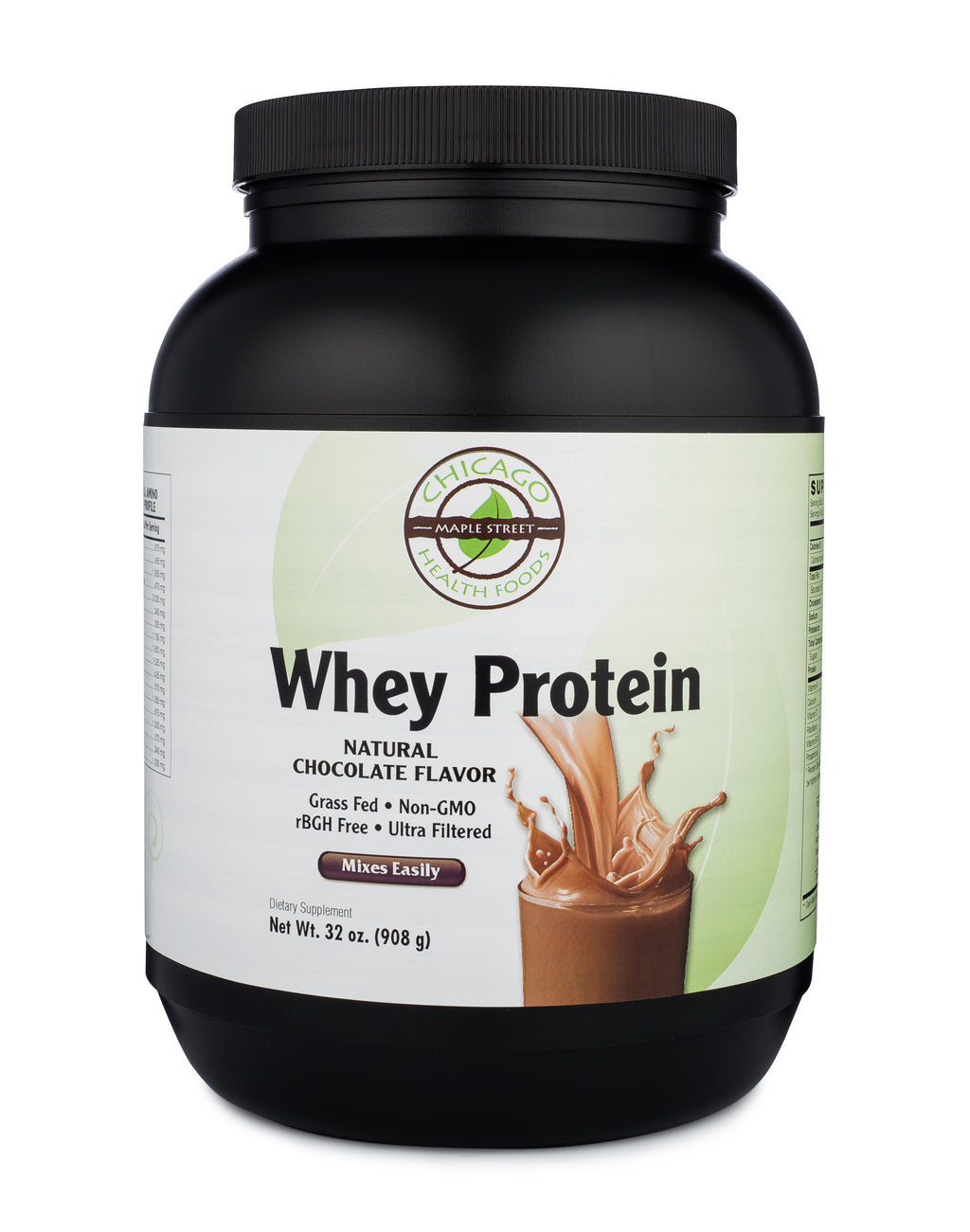 Whey protein chocolate-32oz-supplement-Chicago-Health-Foods