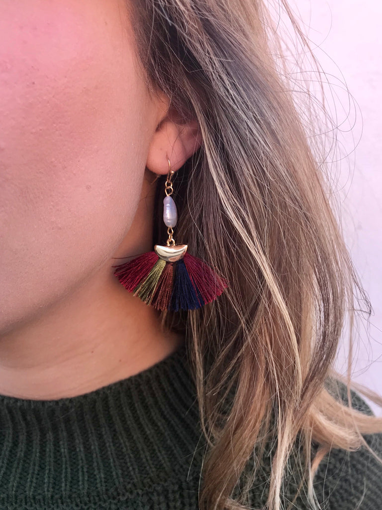 multi color and pearl tassel earrings