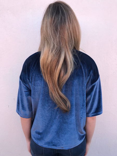 midnight blue velvet top