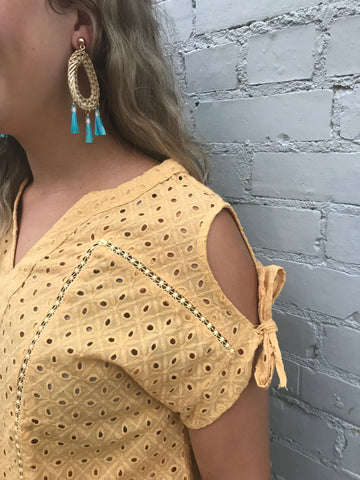 straw and turquoise earrings