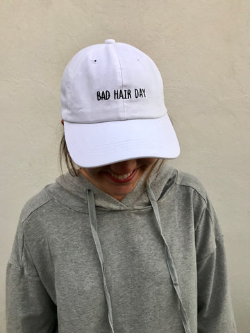"""bad hair day"" cap in white"