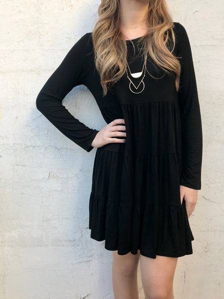 all about you black ruffled dress