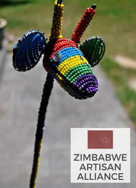 """Multi-Color Beaded Giraffe"""