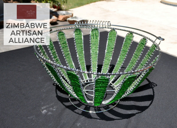"""Green Beaded Round Wire Basket"""