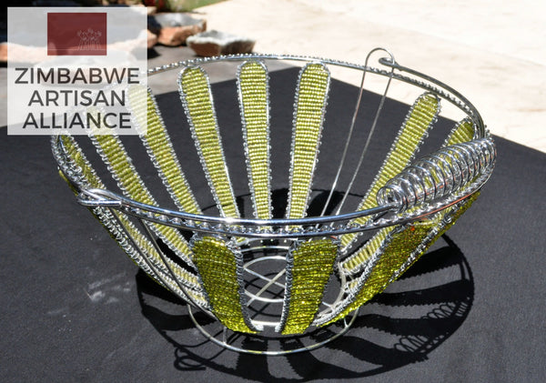 """Yellow Beaded Round Wire Basket"""