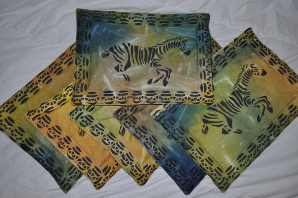 Set of Six Multi-Colored Zebra Placemats