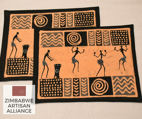 "Set of 2 ""Dancers and Musicians"" Placemats"
