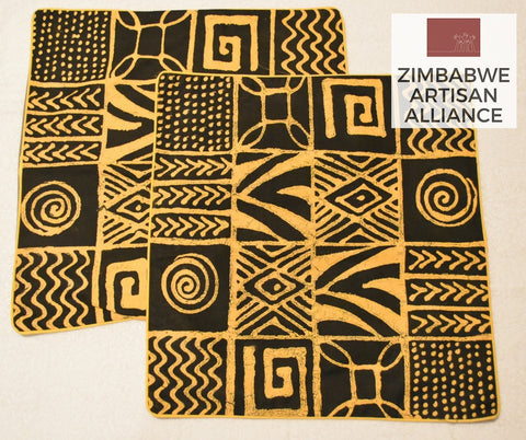 "Set of ""Black and Yellow Pattern"" Cushion Covers"