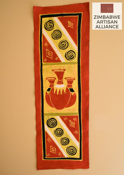 """Red Yellow White Vases"" Table Runner"