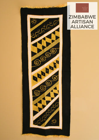 """Black Yellow and White Pattern"" Table Runner"