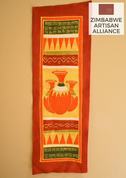"""Orange, White, and Green Vases"" Table Runner"