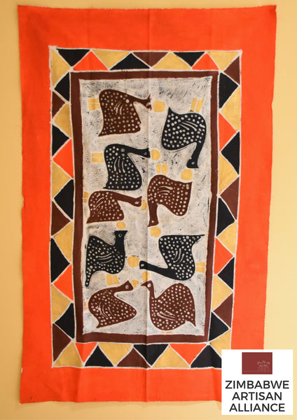 """Orange-Red with Guinea Fowl"" One Meter Table Cloth"