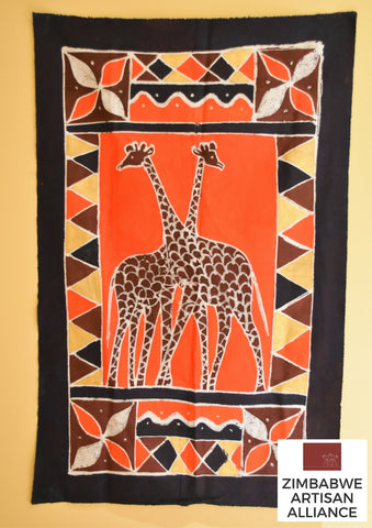 """Dark Blue Giraffes"" One Meter Table Cloth"