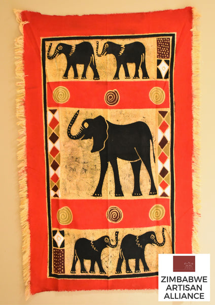 """Red Side Facing Elephants"" One Meter Table Cloth"