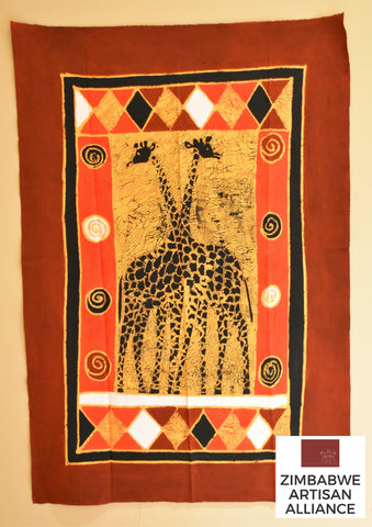 """Crimson, Yellow, and Red Giraffes"" 1 Meter Table Cloth"