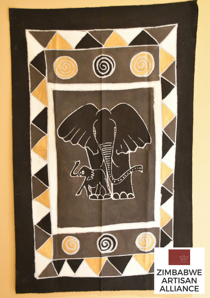 """Black, White, and Gold Elephant"" One Meter Table Cloth"