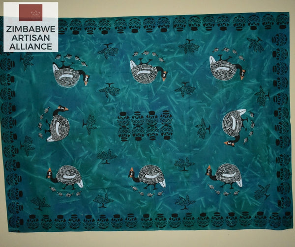 """Blue-Green Guinea Fowl"" Two Meter Table Cloth"