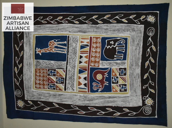 """Dark Blue and Brown with Giraffe and Elephant"" Two Meter Table Cloth"