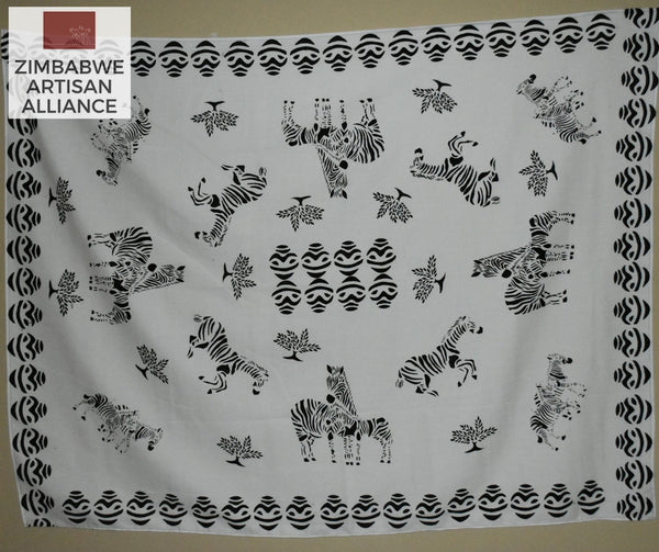 """White Zebras with Vases Pattern"" Two Meter Table Cloth"
