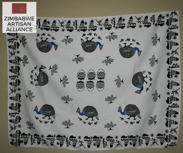 """White Guinea Fowl with Vases and Africa Print"" Two Meter Table Cloth"