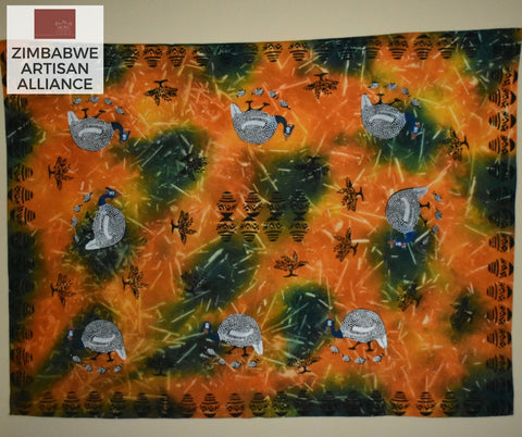 """Orange and Green Guinea Fowl"" Two Meter Table Cloth"