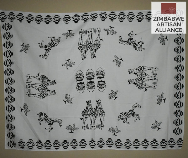 """White Zebras with Vase Border and Kettle Pattern Middle"" Two Meter Table Cloth"